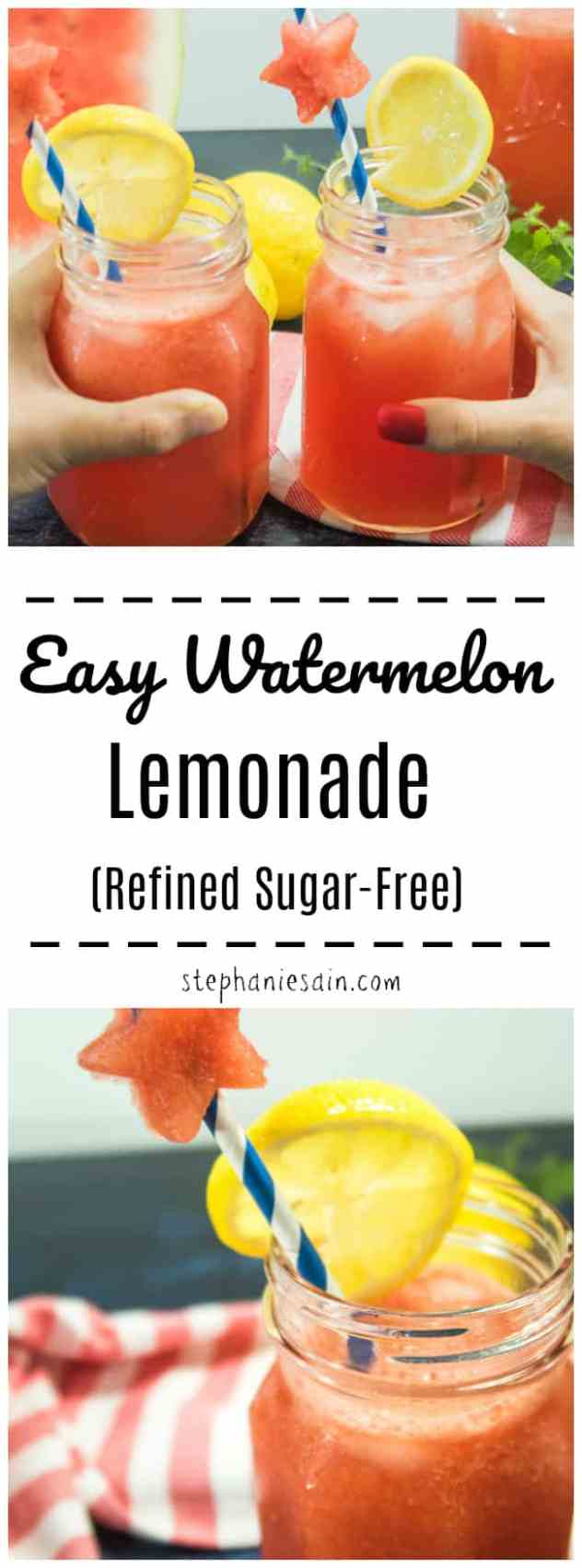 This Easy Watermelon Lemonade only requires 3 ingredients. A tasty, cool refreshing summer beverage. Great for hanging out on hot summer days. No added Refined Sugars & Gluten Free.