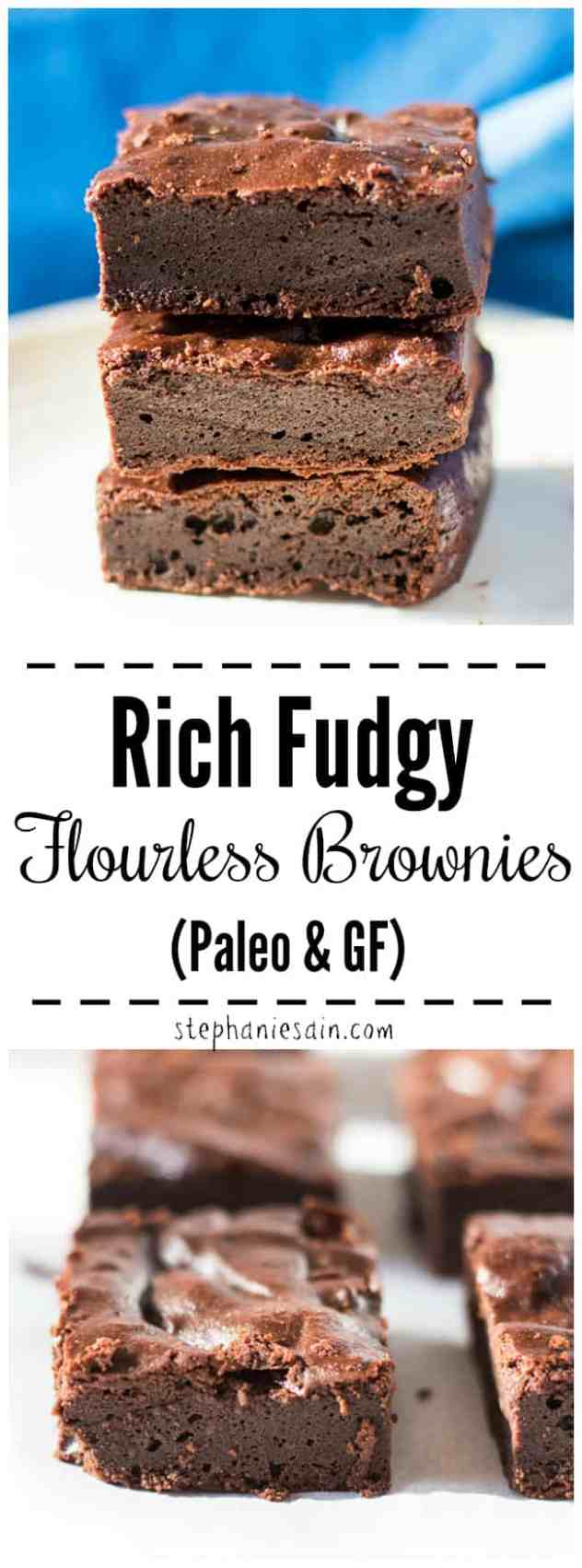 This Flourless Brownies are a rich, fudgy decadent chocolate treat. You'll never miss the flour in these brownies. Perfect way to satisfy chocolate cravings. Paleo, Gluten Free & No added refined sugars.