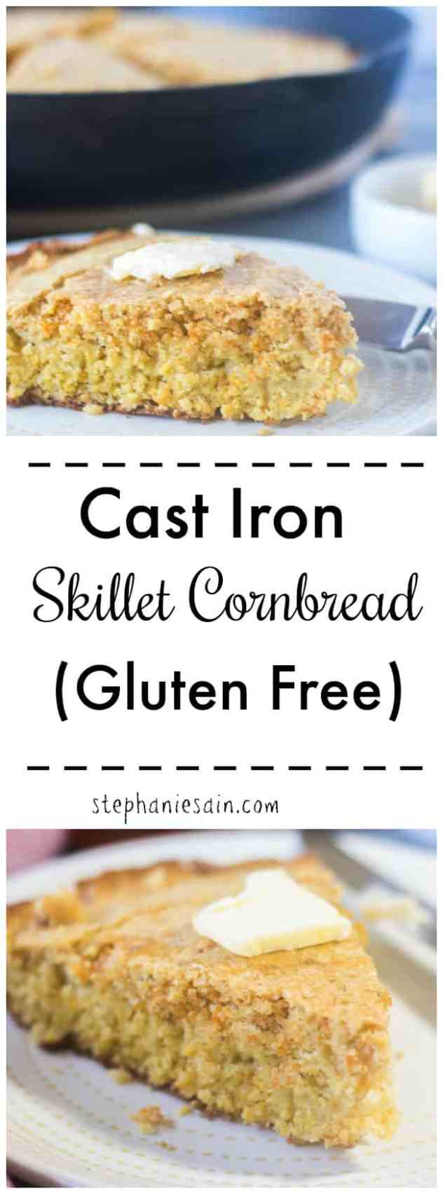 This Cast Iron Skillet Cornbread is super easy to prepare and goes perfect with all your Fall/Winter comfort foods such as soups & chili. Gluten Free.
