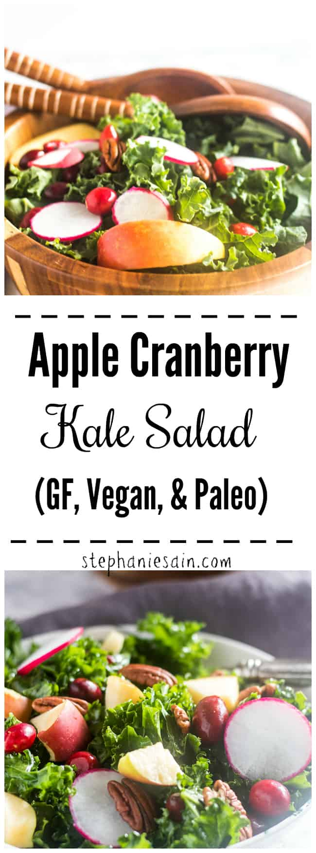 This Kale Salad is a super easy salad made with massaged kale, apples, cranberries & pecans. Lightly dressed with a lemon maple dressing. Perfect for a Holiday side or anytime you want a healthy light lunch or dinner. Gluten Free, Vegan, & Paleo.