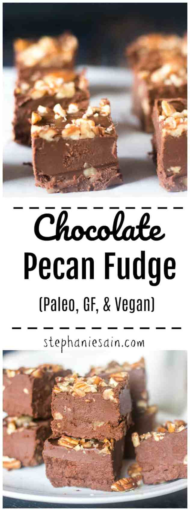 This Chocolate Fudge is rich creamy, and loaded with chocolatey flavor. Crunchy pecans added to the fudge making it a perfect treat for the holidays or anytime. Super easy to make with less then 10 minutes prep. Vegan, Paleo, GF and No added refined sugars.