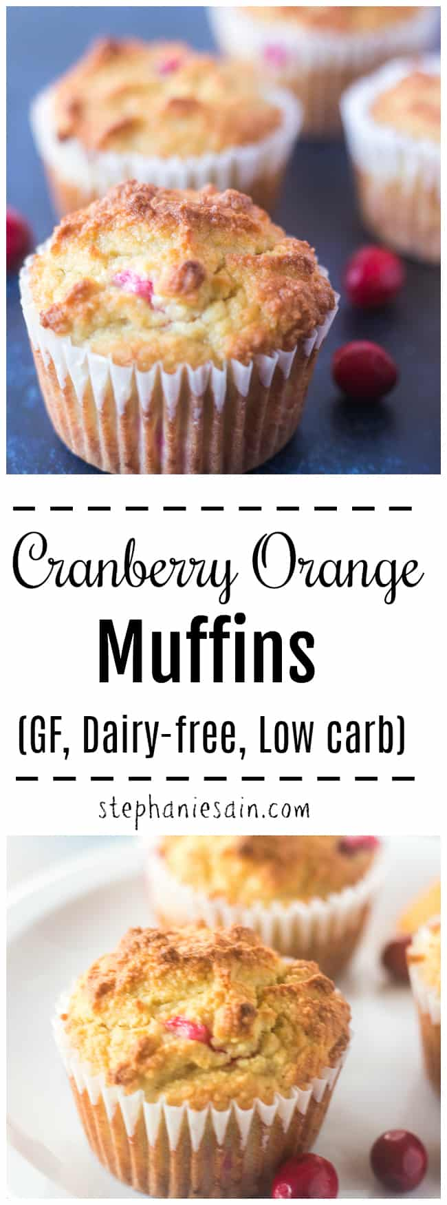 These Cranberry Orange Muffins are moist, tender and bursting with fresh tart cranberries. Lightly sweetened with maple syrup and orange juice. Perfect for quick healthy breakfast or snacks. Gluten Free, Dairy free, No added refined sugars and low carb.