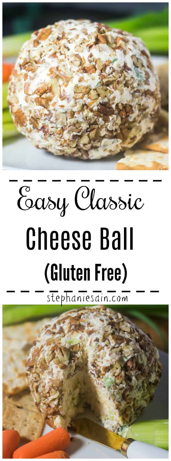 This Cheese Ball is a classic easy recipe that only requires a few ingredients and about 10 minutes prep. An easy elegant appetizer perfect for the holidays, parties, and entertaining. Gluten Free.