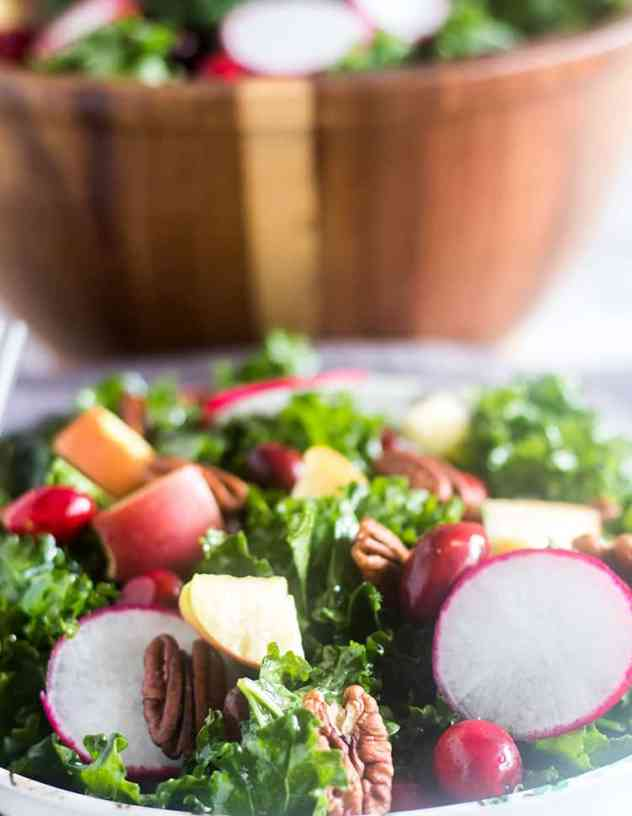 Apple Cranberry Kale Salad in a bowl