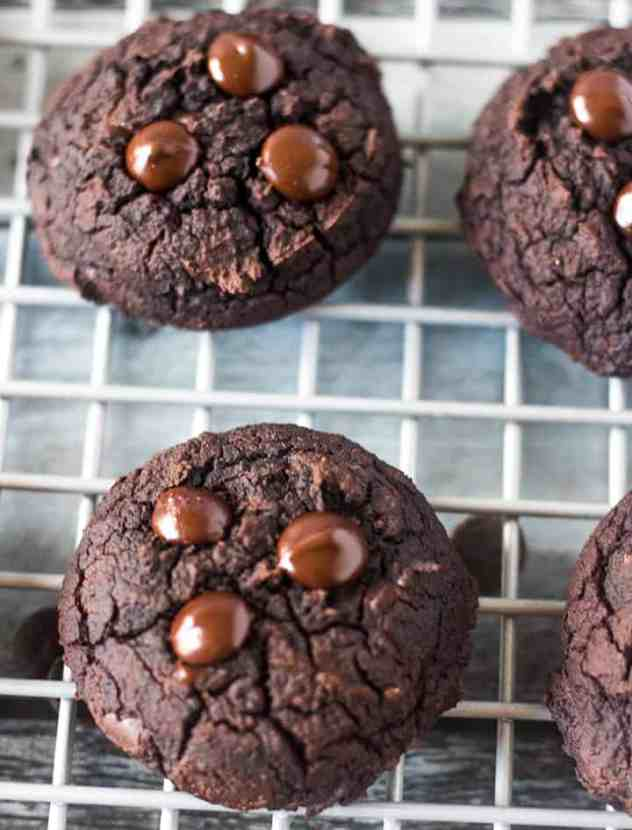 Black Bean Cookies on a wire rack.