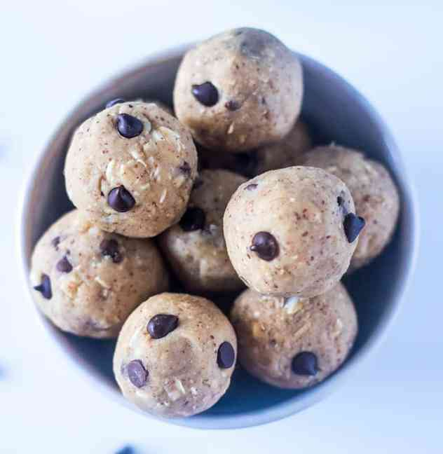 Chickpea Cookie Dough Bites in a white bowl.