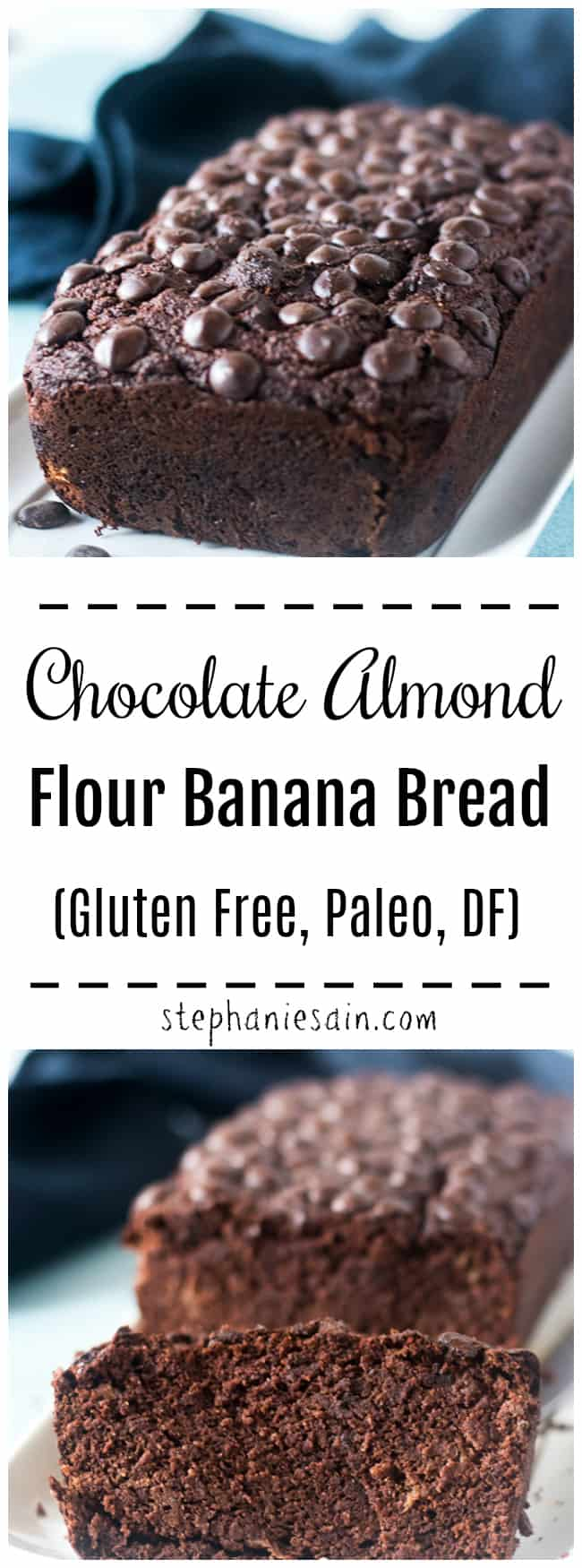 This Chocolate Almond Flour Banana Bread is moist delicious and easy to prepare in one bowl. Great for a healthy breakfast or a quick snack. Gluten Free, Paleo, DF, and has no added Refined sugars