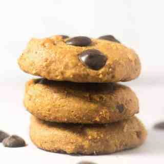 Three Chocolate Chip Coconut Flour cookies stacked.