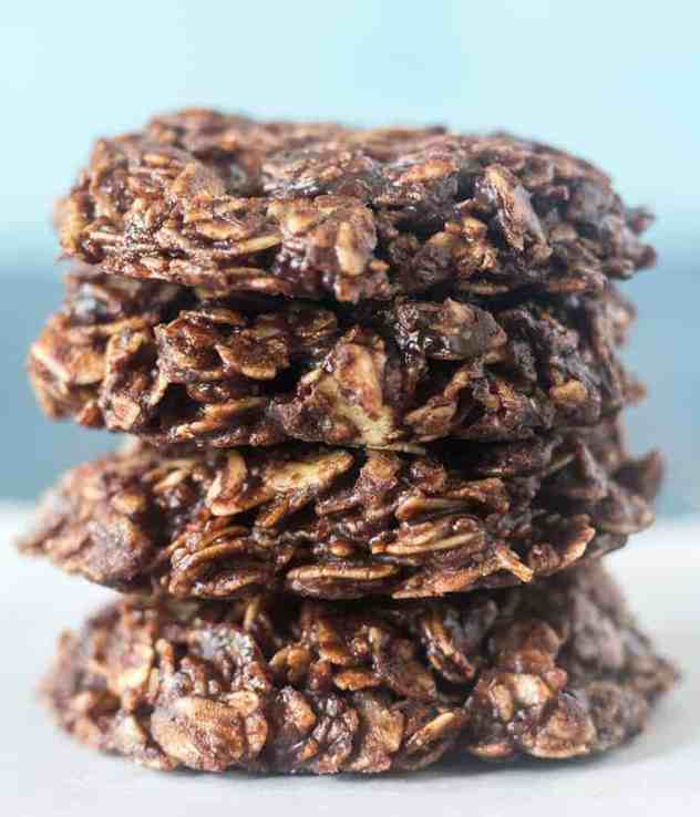 Chocolate Oatmeal No Bake Cookies stacked.