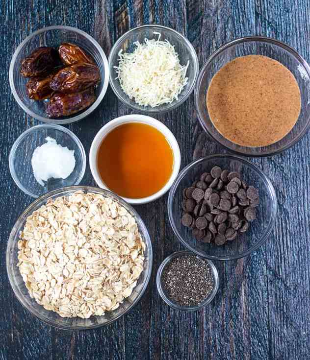 Medjool dates, shredded coconut, almond butter, coconut oil, maple syrup, rolled oats, dark chocolate chips, chia seeds .