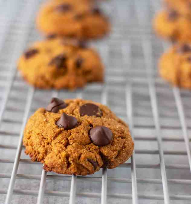 Pumpkin Chocolate Chip Cookies on a cooling wrack.