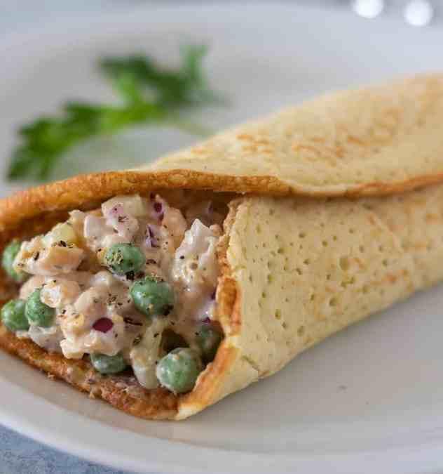 Chickpea salad on an almond flour tortilla