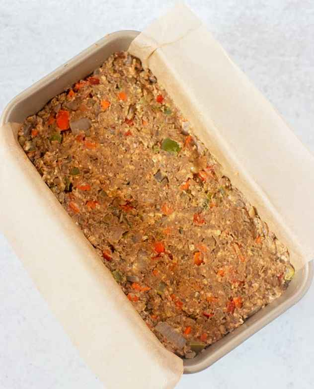 Lentil loaf in pan before cooking