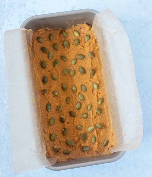 Pumpkin Bread in loaf pan prior to cooking.
