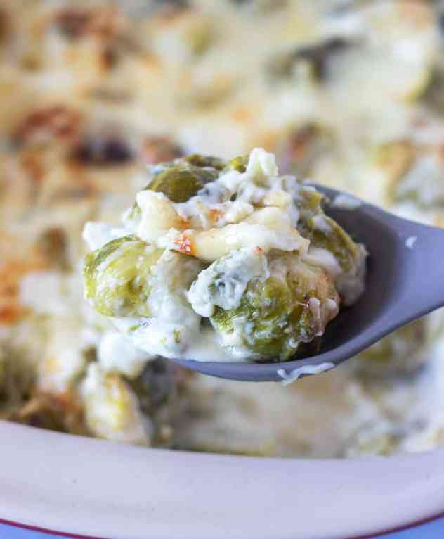 brussel sprouts au gratin on a spoon