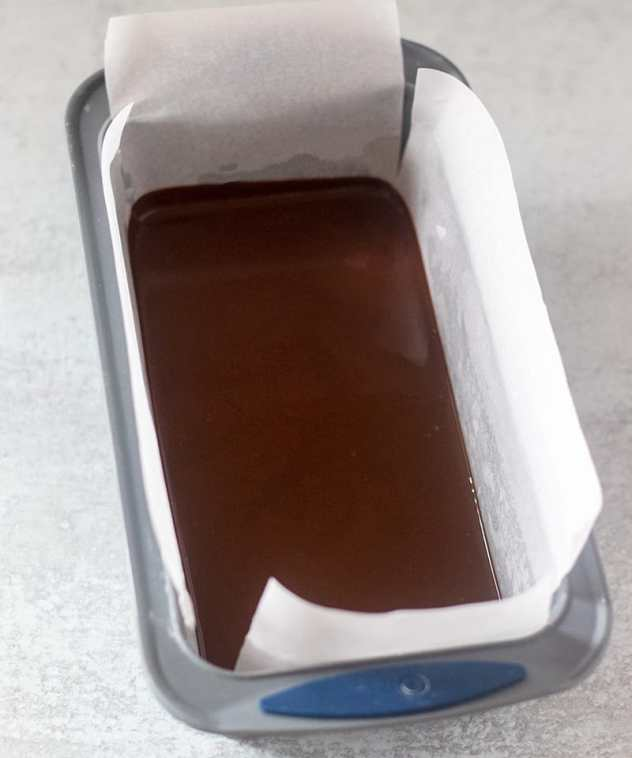 chocolate fudge in loaf pan before chilling it