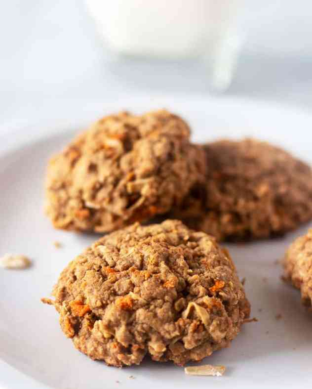 carrot cake cookies on a white plate