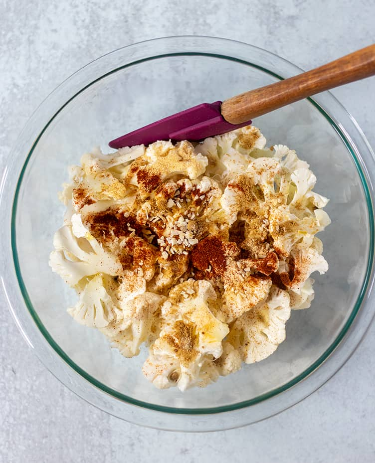 Cauliflower chips, seasonings, olive oil