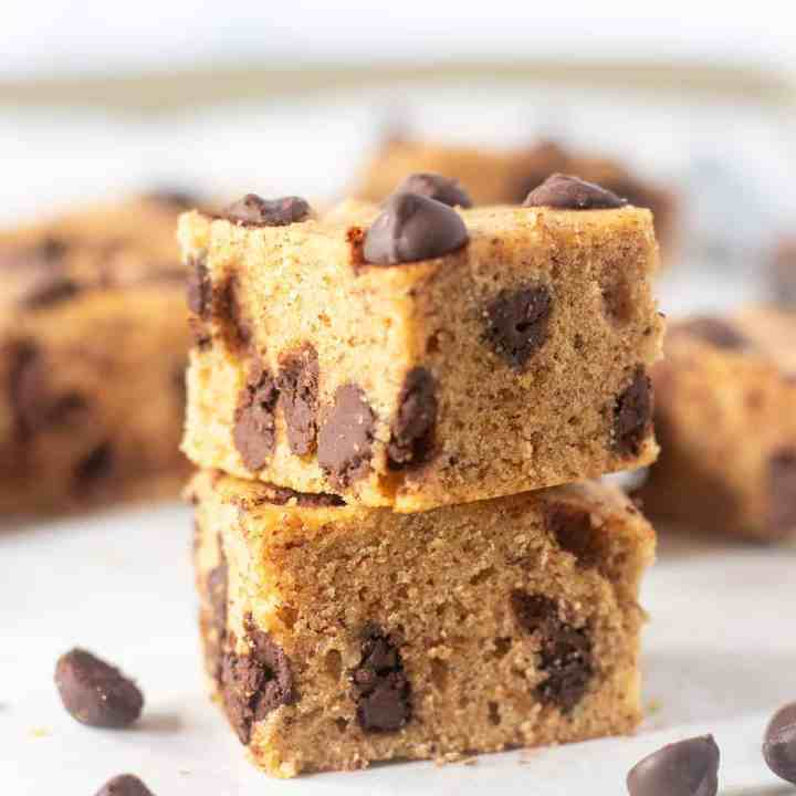 Chocolate Chip Cookie Bars stacked