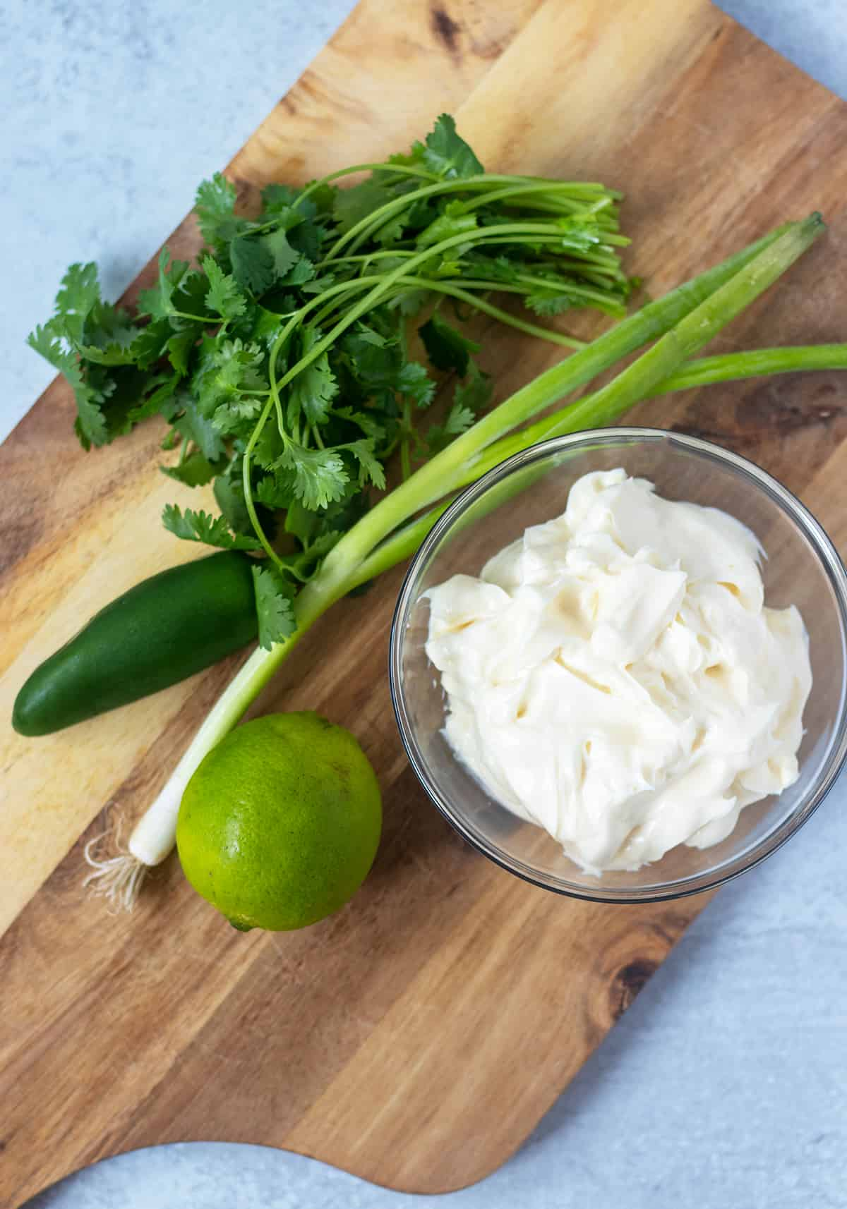 Cilanto, jalapeno, green onion, lime and mayo
