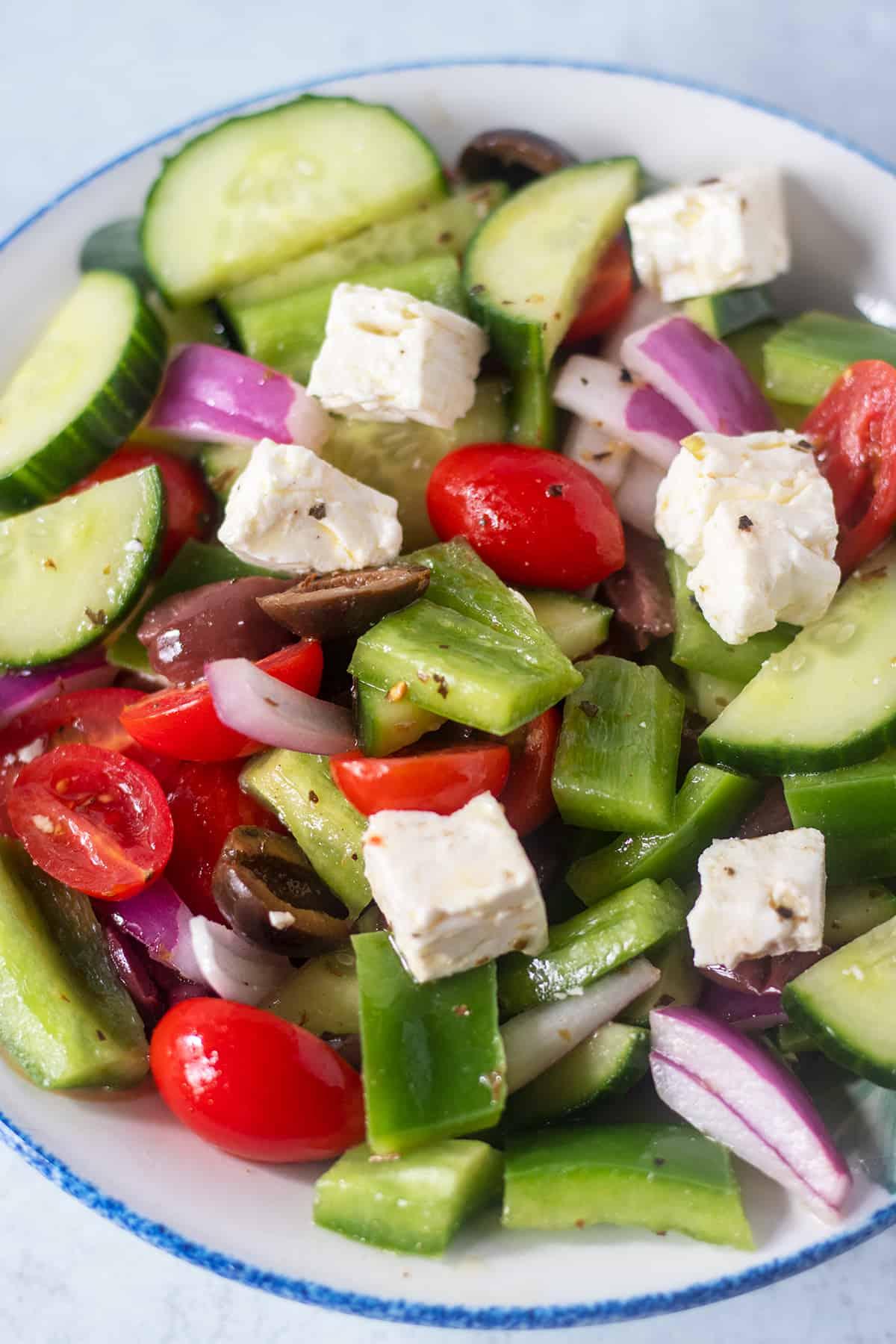 Greek Salad in a white bowl