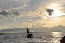 Fishermen waiting during sun set, Inle Lake, Myanmar