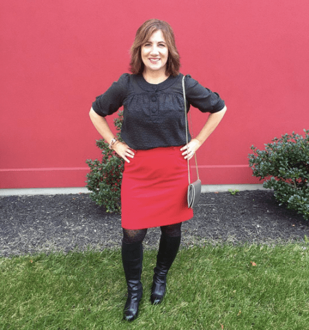 THURSDAY | #FROCTOBER Day 20 | Ready to say hello to our alums at tonight's Affinity Reunion in this #ootd. #anntaylor red skirt; #frenchconnection top; #ninewestboots.