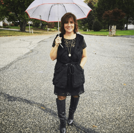 #FROCKTOBER Day 27 | Singing in the rain 🎶 as only 4 days remain of my month-long fashion feature for the blog. Today's #ootd features faux fur and lace. Dress #anntaylor; faux fur vest with thin belt by #jolt; lace-up black boots by #stevemaddenluxe. Fishnet stockings. See what I mean? Somehow I always gravitate toward black clothing. Happy Almost Friday, all! 💌💌💌