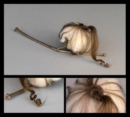 Bronze, cotton, human hair, glue, saliva
