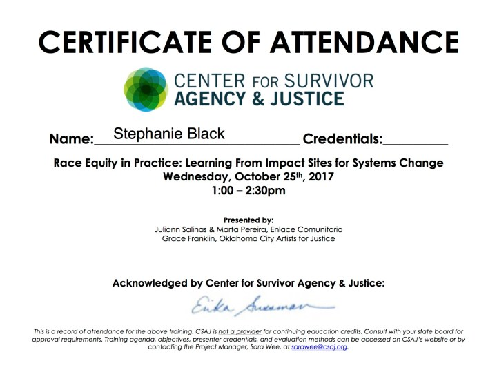 Certificate: Race Equity in Practice: Learning From Impact Sites for Systems Change