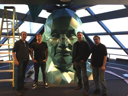 The SAM and Creative Technologies Installation Crew with Ben Franklin's head
