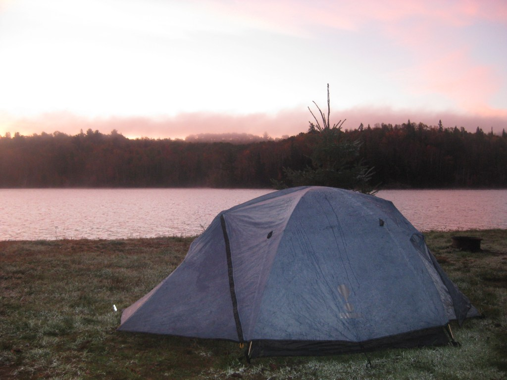 Our Dew-laden tent at Agnew Lake