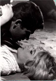 Boyd and Bardot during the filming of The Night Heaven Fell 10 years earlier in 1957