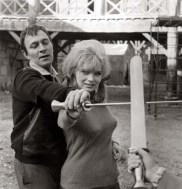 Christopher Plummer gives Lena Von Martens a lesson in fencing during the filming of THE FALL OF THE ROMAN EMPIRE, 1964