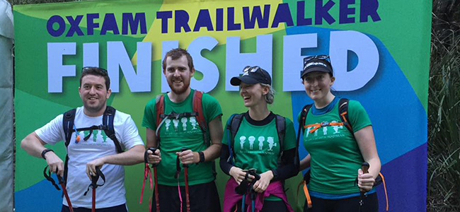 Oxfam Trailwalker 2015 finish for two girls a guy and an irishman