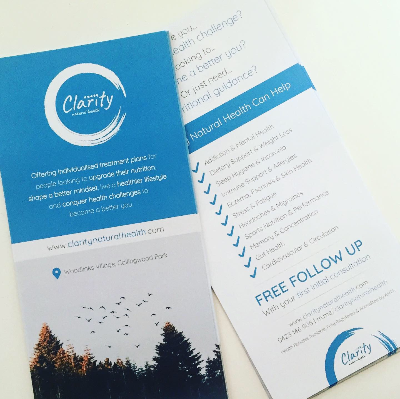 Dl Flyer, Flyer, Print Design, Graphic Design, Graphic Designer, Clarity Natural Health.
