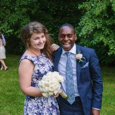 Norfolk wedding photographer – couple catch bouquet