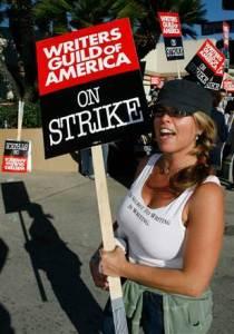 WGA writers on strike