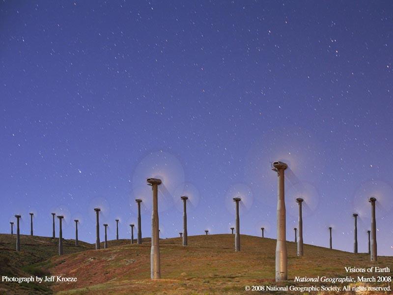 wind turbines at night USA