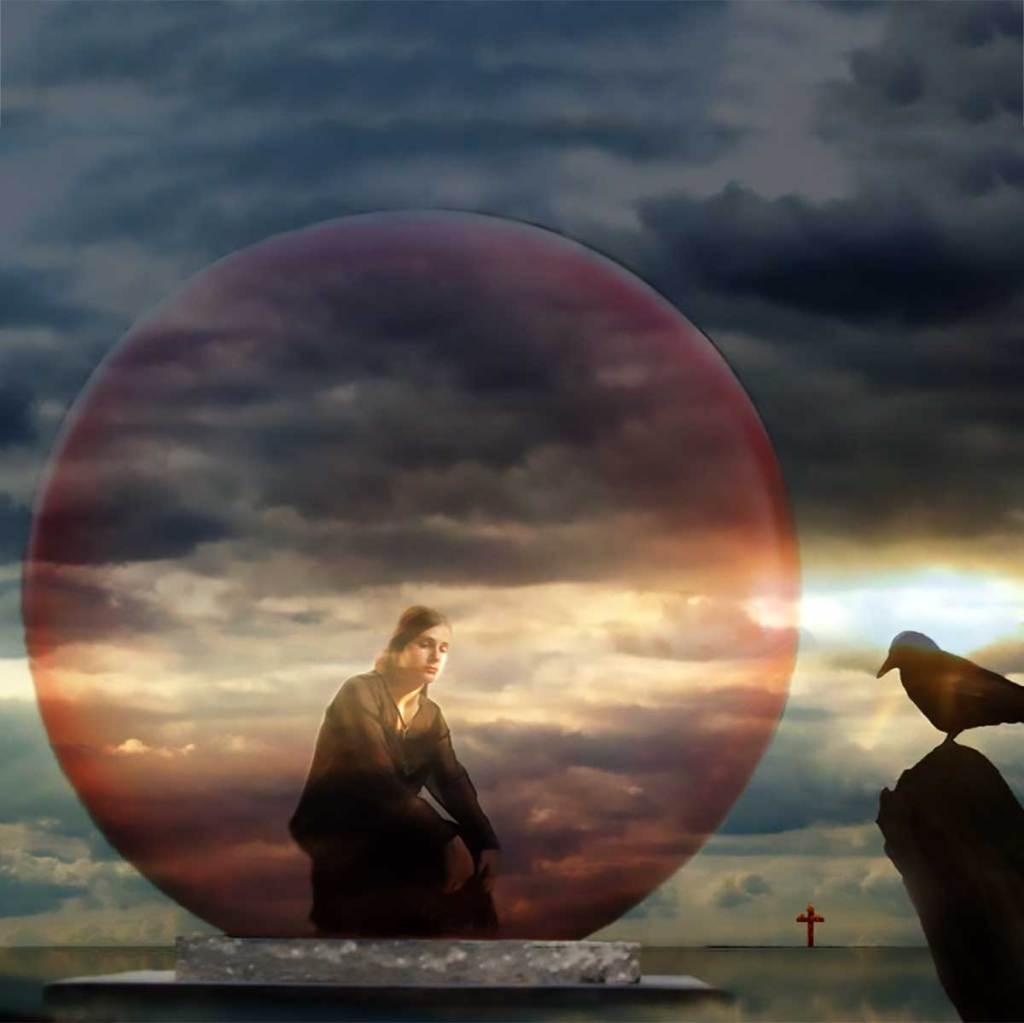 Photo art of man in bubble