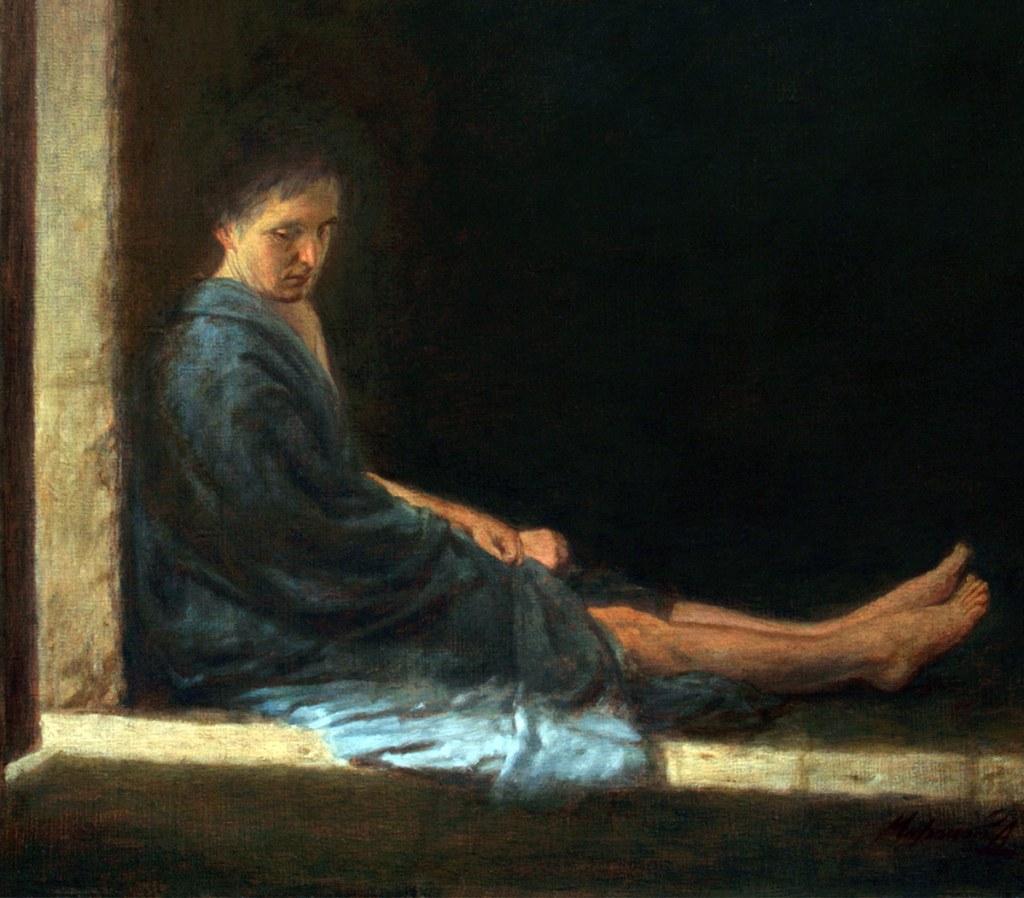 painting of man sitting on window ledge