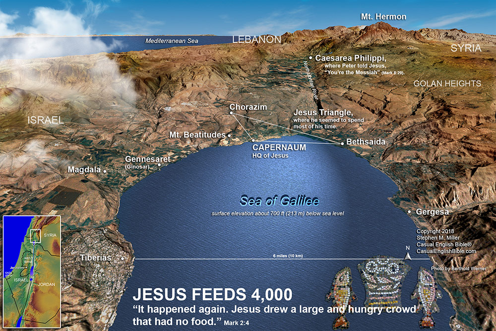 map of Sea of Galilee copyright Stephen M. Miller