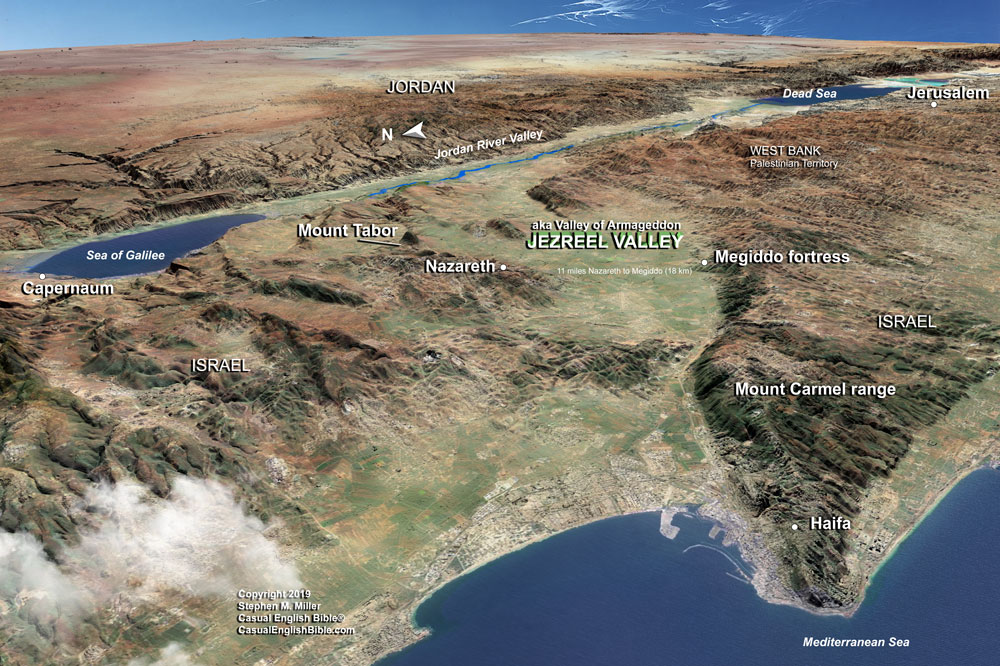 map of Jezreel Valley copyright Stephen M. Miller