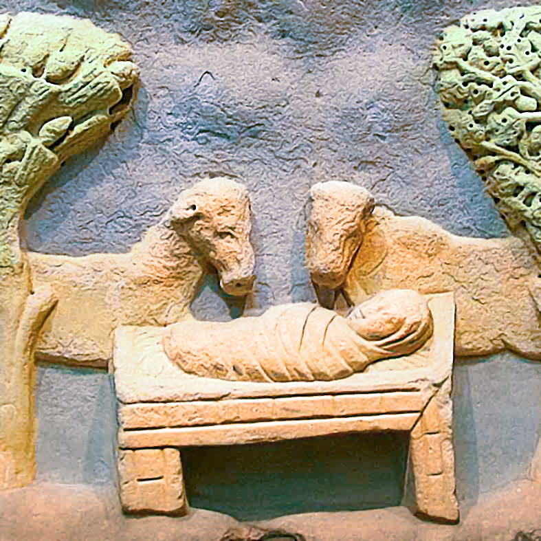 stone carving of Baby Jesus in a feeding trough