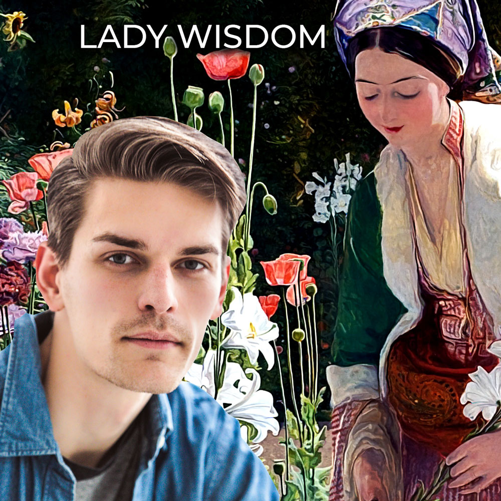 young man with Lady Wisdom