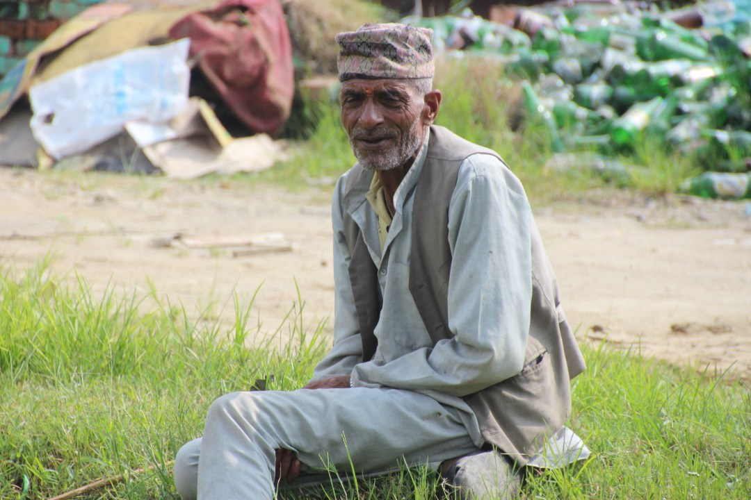 A very dignified gentleman at the side of the road, on our way to the village.
