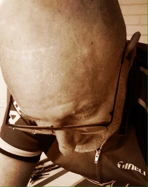 Man on bike sweating