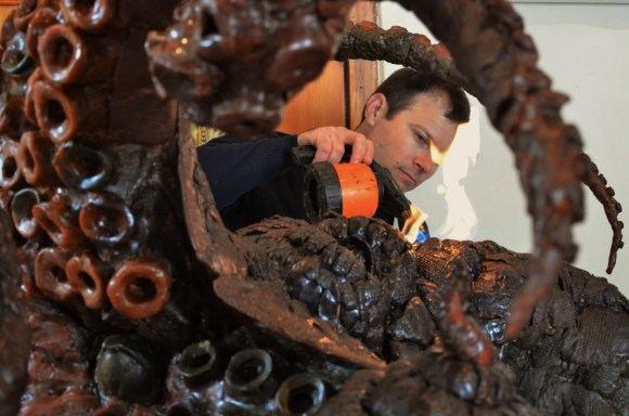 The sculpture of a giant Octopus on completion in wax for bronze.