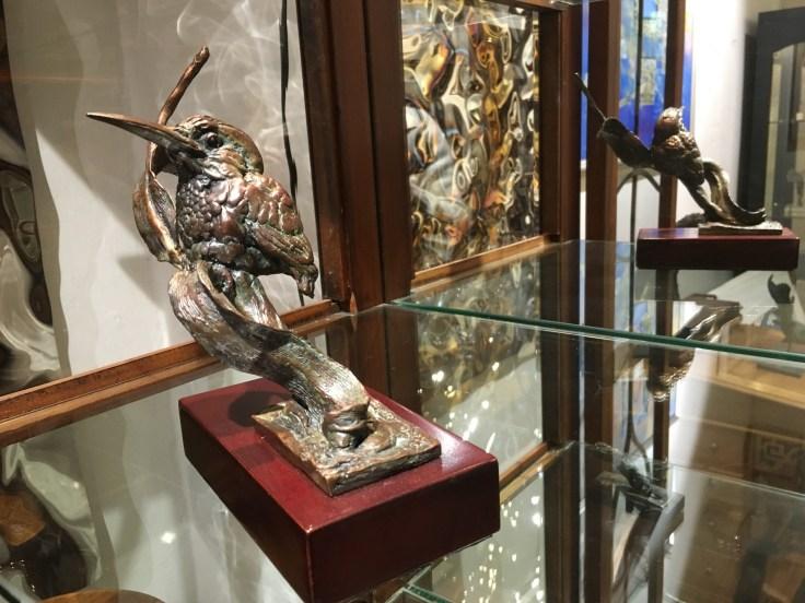 Malachite Kingfisher, bronze sculpture
