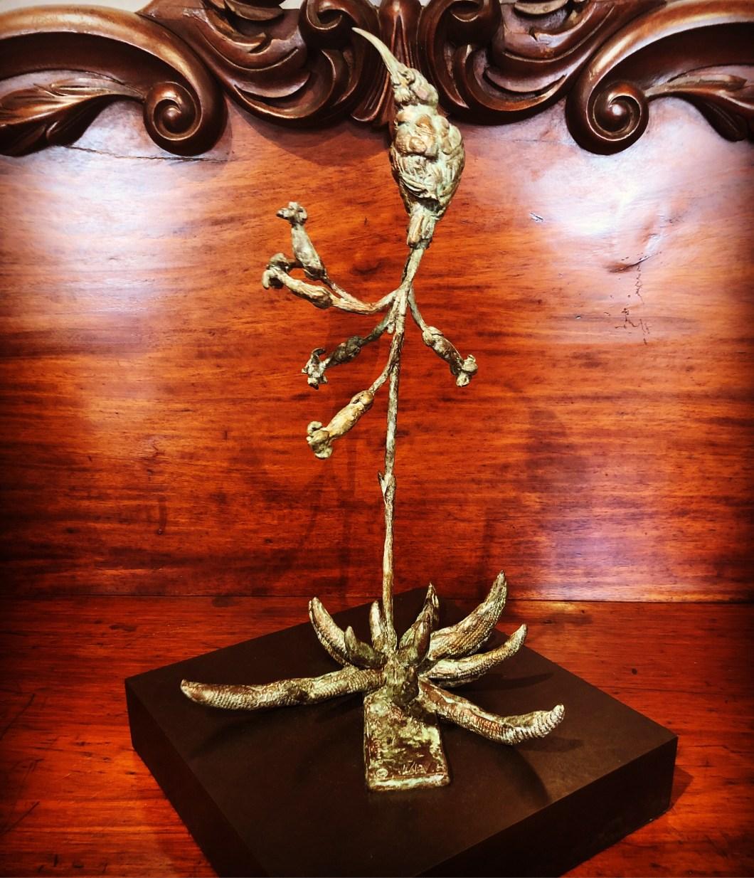 Sunbird, floral bloom, botanical sculpture, bronze